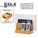 G.U.S. Multi-Device Charging Station Dock & Organizer - Multiple Finishes Available. For Laptops, Tablets, and Phones - Strong Build, SMART Eco-Friendly Bamboo with USB+AC Power Hub (8A/40W)
