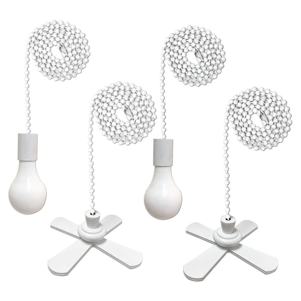 Royal Designs Fan and Light Bulb Shaped Pull Chain Set - White, Two Pair by Royal Designs, Inc
