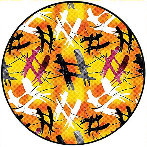 Short Plush Round Rug Abstract Digital Grafiti Image with Marigold Backdrop and Purple Black Stripes Color Anti-Slip Children's Floor 74.8