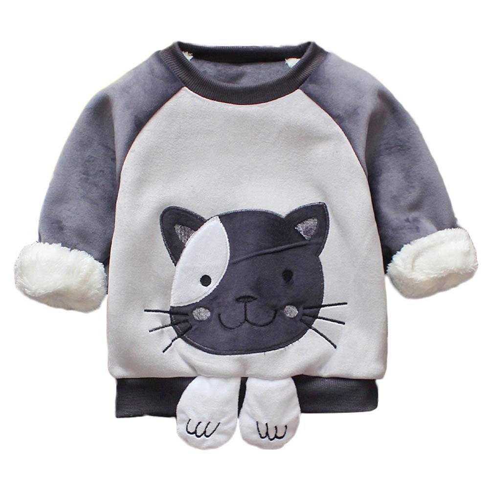 PRINCER Baby Coats, Unisex Cartoon Cat Print Warm Tops Toddler Kids Thick Long Sleeve Basic Shirts Infant Round Neck Pullover Clothes Adorable Fleece Autumn Winter Costume