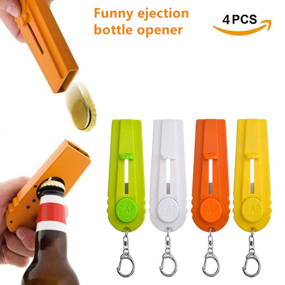 4 Pieces Beer Bottle Opener Cap Zappa Cap Shooters Launchers Keychain Fun Cap Zappa 4 Colors