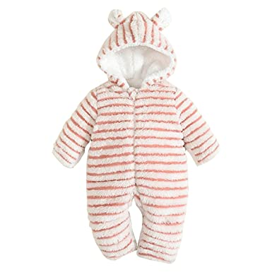 b82170e9d1fee Bebone Toddler Baby Girls Boys Winter Snowsuit Striped Hooded Cartoon  Fleece Romper(Pink