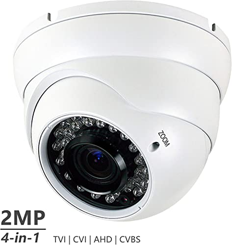 Analog CCTV Camera HD 1080P 4-in-1 TVI AHD CVI CVBS Security Dome Camera, 2.8mm-12mm Manual Focus Zoom Varifocal Lens, Weatherproof Metal Housing 36 IR-LEDs Day Night Monitoring White