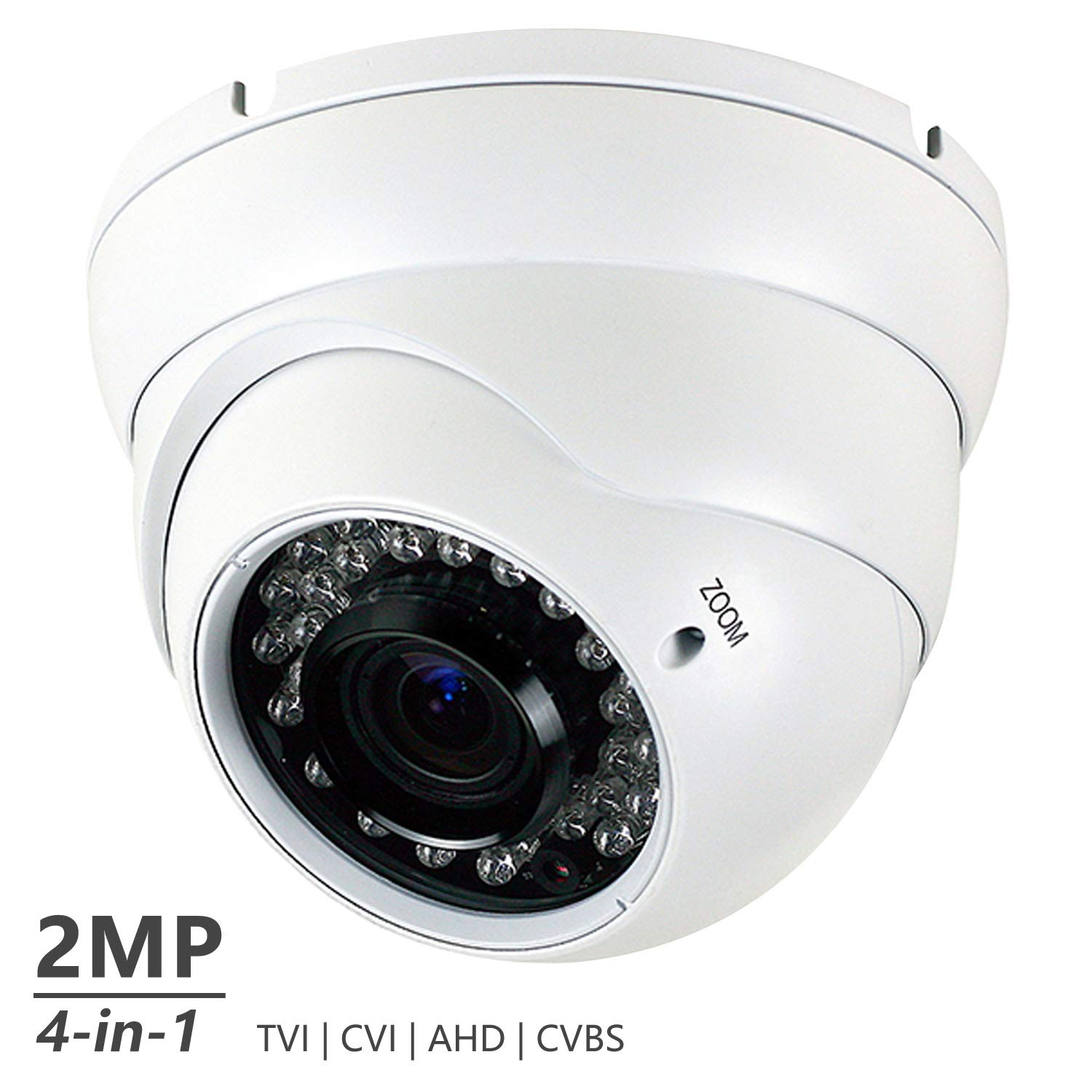 Analog CCTV Camera HD 1080P 4-in-1 TVI AHD CVI CVBS Security Dome Camera, 2.8mm-12mm Manual Focus Zoom Varifocal Lens, Weatherproof Metal Housing 36 IR-LEDs Day Night Monitoring White