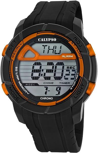 Calypso Hombre Reloj Digital con Pantalla LCD Pantalla Digital Dial y Correa de plástico en Color Negro k5697/7