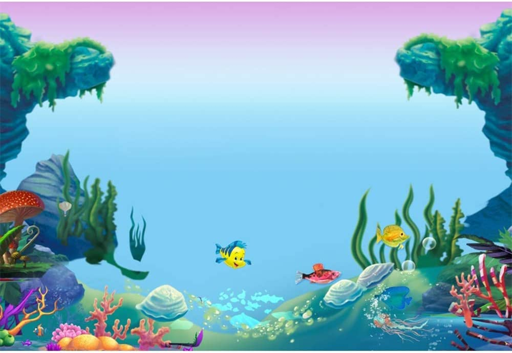 YEELE 12x8ft Under The Sea Backdrop Happy Fish Swimming in Seabed Photography Background 1st Birthday Cake Smash Banner Pre School Play Decoration Photo Studio Props Wallpaper