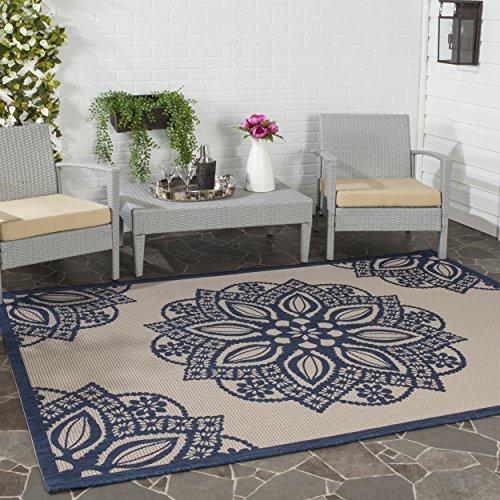 Safavieh Courtyard Collection CY6139-258 Beige and Navy Indoor/Outdoor Area Rug (4' x 5'7