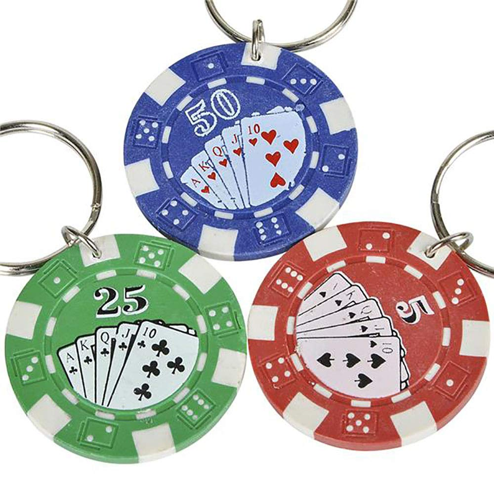 Kicko 1.5 Inch Poker Chip Keychain - 12-Pack Mini Backpack Carabiner Clip - Keyring for Bag and Belt Loop Accessory, Back to School Item, Arts and ...