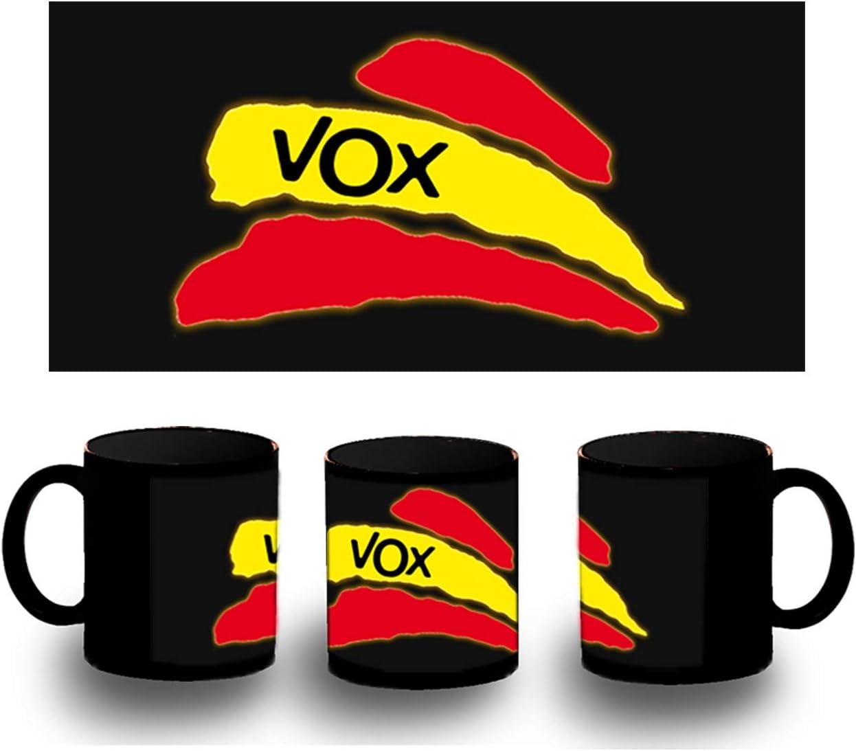 MERCHANDMANIA Taza Completamente Negra Partido VOX Bandera ESPAÑOLA Black mug: Amazon.es: Deportes y aire libre