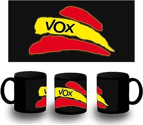 MERCHANDMANIA Taza Completamente Negra Partido VOX Bandera ...