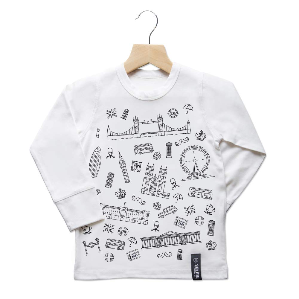 Selfie Clothing Colour in All About London Long Sleeved Top with Fabric Pens