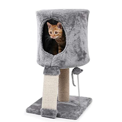 Pawz Road 22 Small Cat Tower Kitty Tree With Condo Scratching Post And Mice