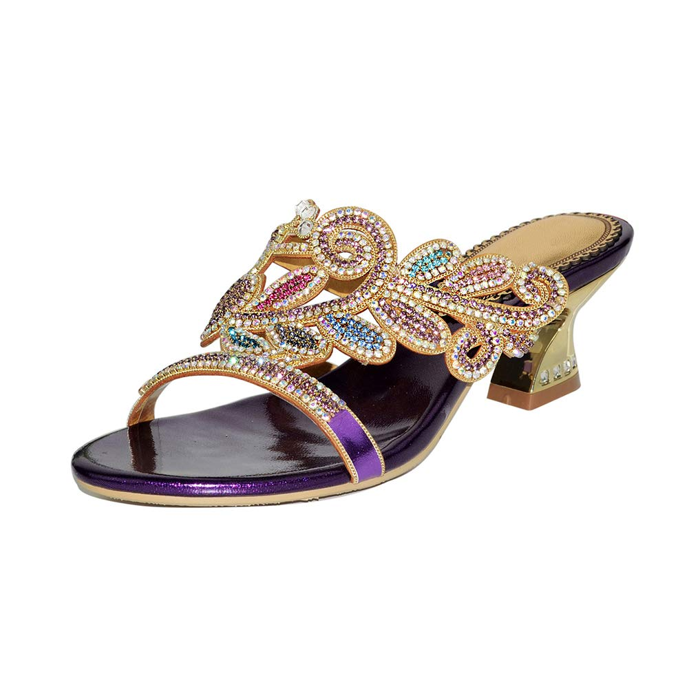 Purple Women's Rome Hollow High Heel Sandals Shiny Rhinestone Alien High Heel Slippers Crystal Diamond Slippers
