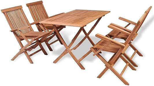 Festnight Conjunto de Muebles de Jardín de Comedor Muebles de Terraza 5 Piezas, 1 Mesa Plegable y 4 Sillas Plegables Madera de Teca Maciza: Amazon.es: Hogar