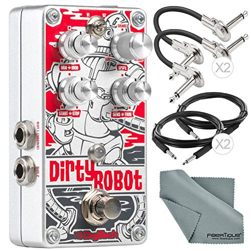 DigiTech Dirty Robot Stereo Mini-Synth Pedal and Deluxe Bundle with 4x Cables + Fibertique (Synth Bundle)