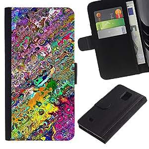 iKiki Tech / Cartera Funda Carcasa - Wallpaper Neon Colors Random Modern Art - Samsung Galaxy Note 4 SM-N910