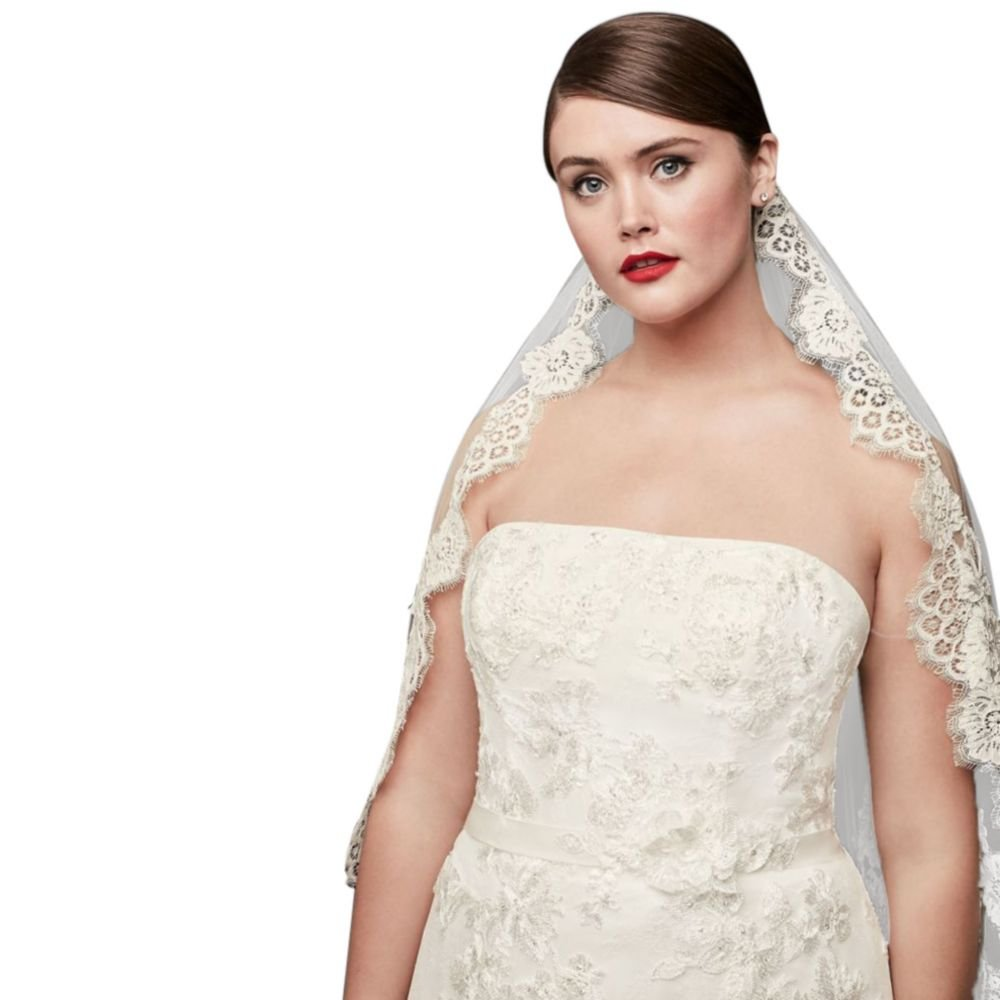 One Tier Mid Veil with Trailing Lace Style WPD16266M, Ivory