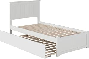 Atlantic Furniture Nantucket Platform Bed with Flat Panel Footboard and Twin Size Urban Trundle, White