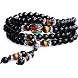 COAI Unique Gift Multilayer Tiger Eye and Obsidian Malas Prayer Beads Bracelet