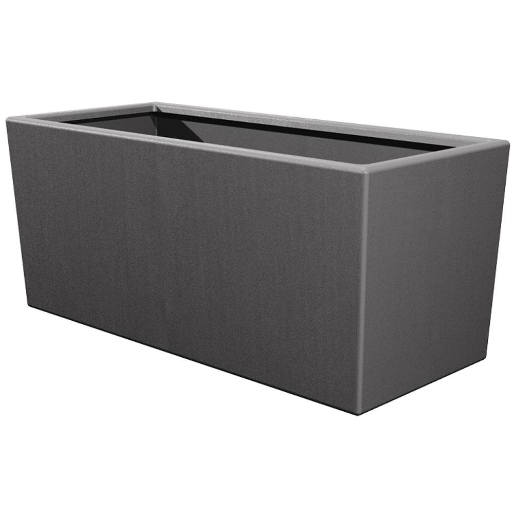 Pride Garden Products Toscana 14 in. L x 39 in. W x 24 in. H Smoke Plastic Rectangle Patio Planter