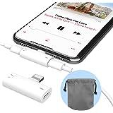 iPhoneイヤホン変換アダプター 改良品 ライトニングコネクタ ヘッドフォンジャック ヘッドホン変換ケーブル 充電ケーブル MiiKARE 音楽/充電/通話同時iPhone X/iPhone7/7 Plus/8/8 Plus/X iOS 12.1以降対応 コンパクト端子 ホワイト