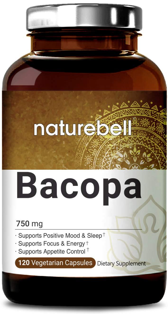 NatureBell Bacopa Monnieri, 750 Milligram, 120 Veg Capsules, Nootropics for Enhanced Mental Focus and Memory, Non-GMO, Vegan Friendly and Made in USA