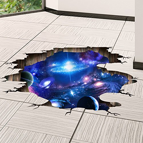 Amaonm Creative 3D Blue Cosmic Galaxy Wall Decals Removable PVC Magic 3D Milky Way Outer Space Planet Window Wall Stickers Murals Wallpaper Decor for Home Walls Floor Ceiling Boys Room Kids Bedroom by Amaonm (Image #5)