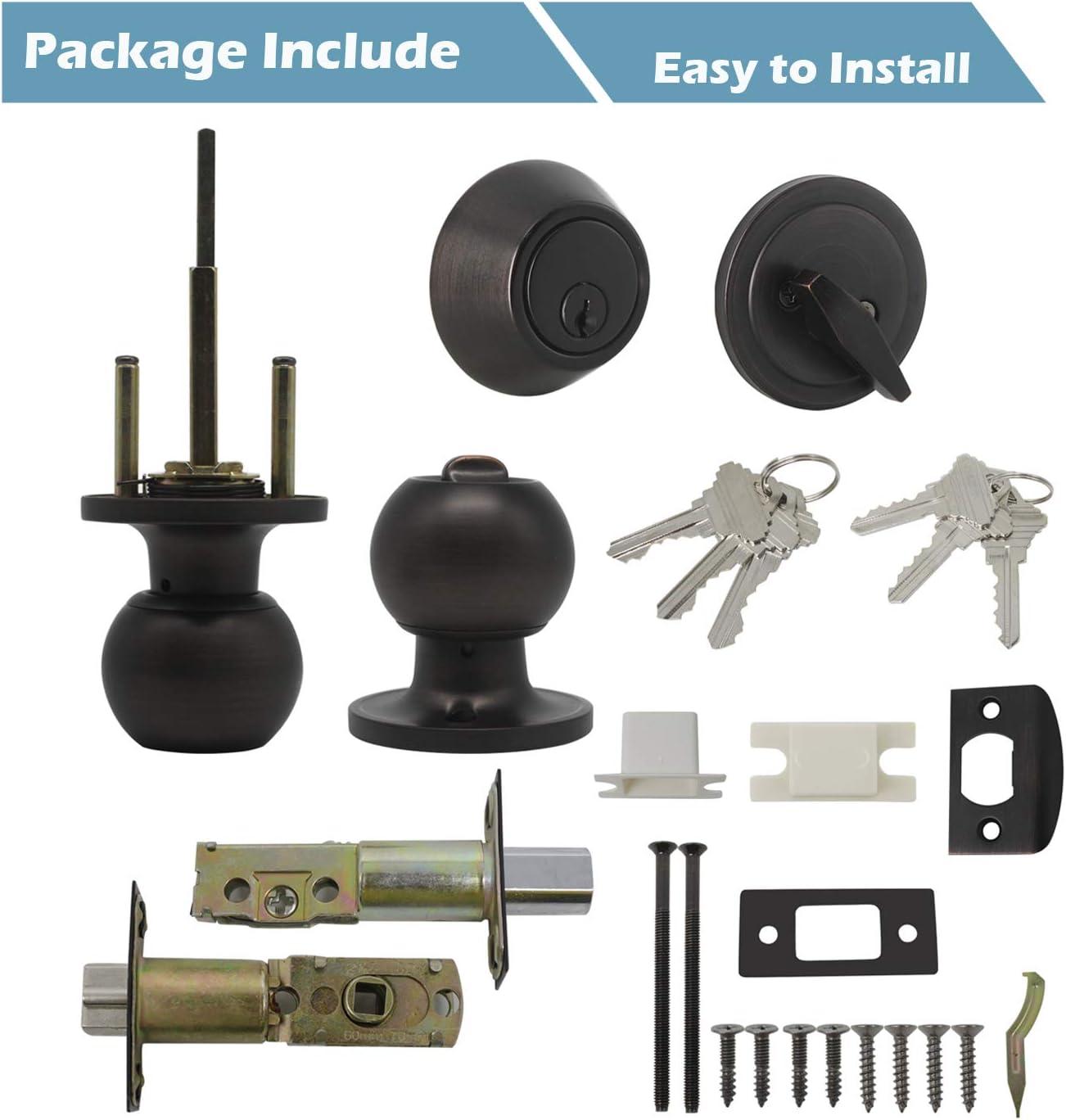 1Pack Gobrico Oil Rubbed Bronze Keyed-Alike Round Ball Entry Door Knob Lockset and Double Cylinder Deadbolt Keyed on Both Side