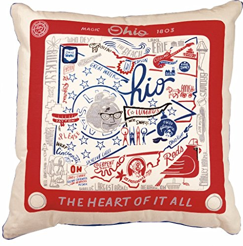 Primitives by Kathy Home State Ohio Cotton Decorative Throw Pillow, 20-Inch Square State Throw Pillow
