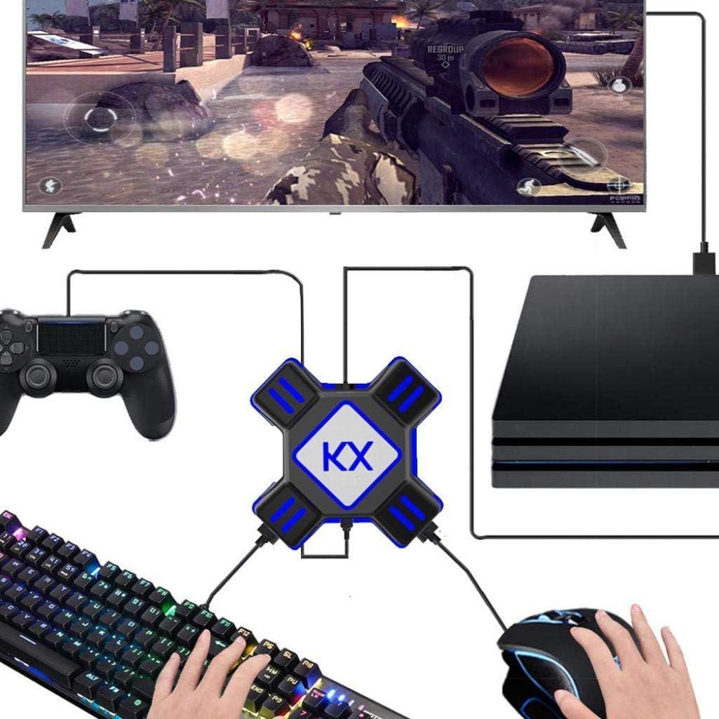 Awaqi Adaptador de teclado y ratón para Nintendo Switch/PS4/PS4 Pro/PS4 Slim/Xbox One/Xbox One S/Xbox One X/PS3/PS3 Slim