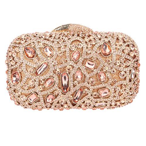 Clutch Purse Handbags Womens Evening Bags-Rose Gold (Satin Gold Angle)
