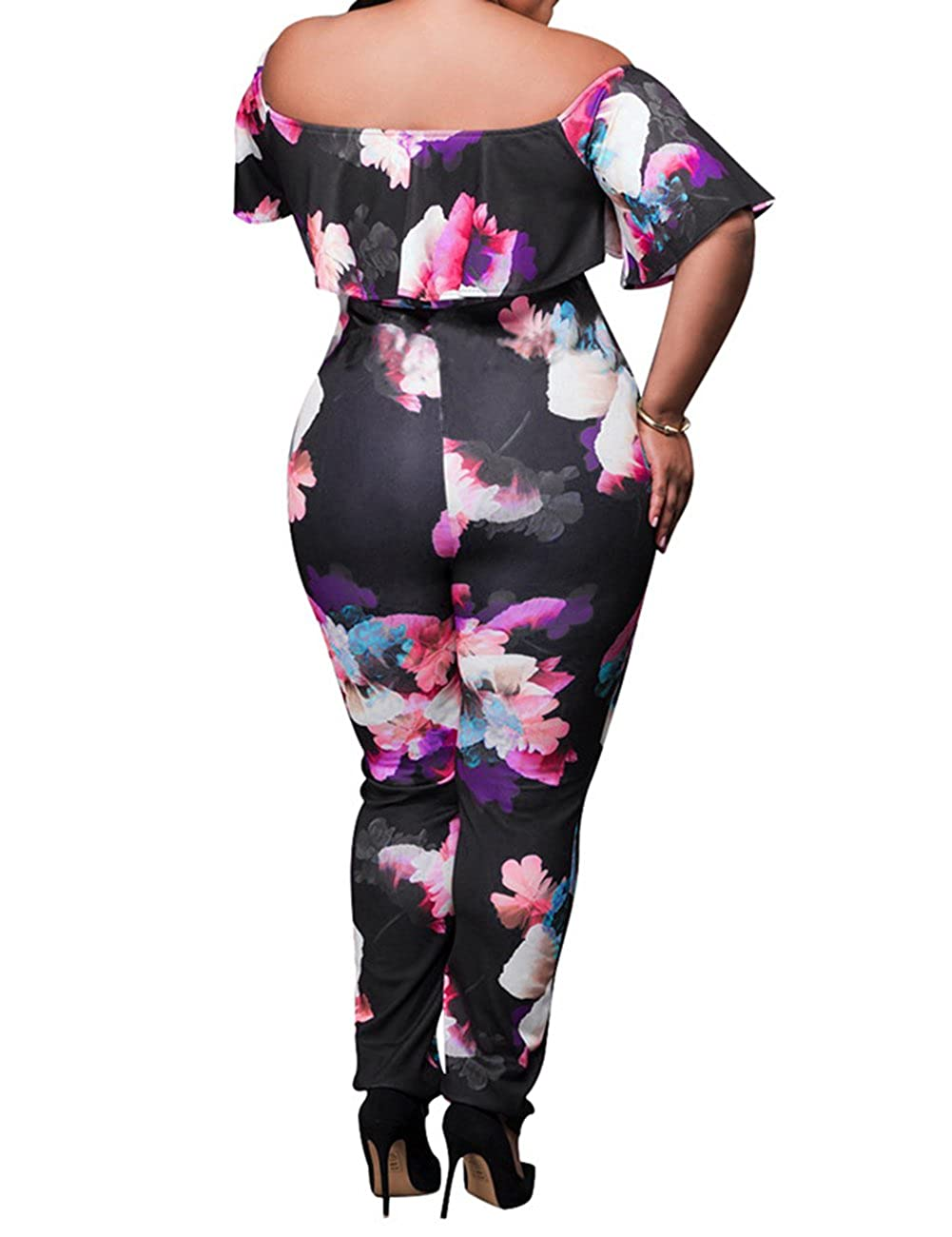 3e81ec89204 Amazon.com  AMZ PLUS Sexy High Waist Plus Size Off Shoulder Floral Romper  Jumpsuits for Women  Clothing