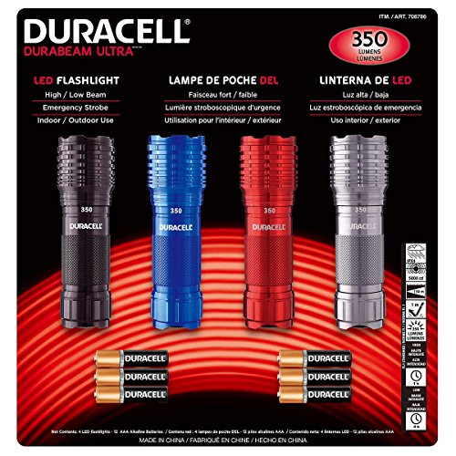 Duracell DuraBeam Ultra 350 Lumens LED Flashligh, 4-Pack with Batteries - Black Flashlight Duracell