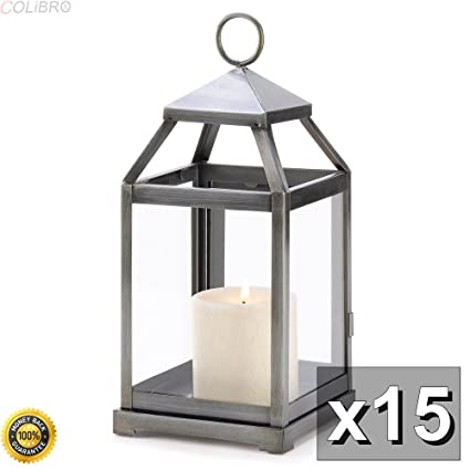 Amazon.com: COLIBROX-15 RUSTIC SILVER CONTEMPORARY CANDLE LANTERN ...