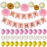 Kindergeburtstag Deko, Geburtstagsdeko rosa, 1. Geburtstag Set für Mädchen und junge - und Jeden Alters, Geburtstagsdeko, Geburtstagsdeko für mädchen, 40 Stück, girlande rosa, 1 Happy Birthday girlande + 30 Große Geperlte Ballons + 9 Tissue Papier Pom Poms, kostenlose Ballons Luftpumpe, Rosa