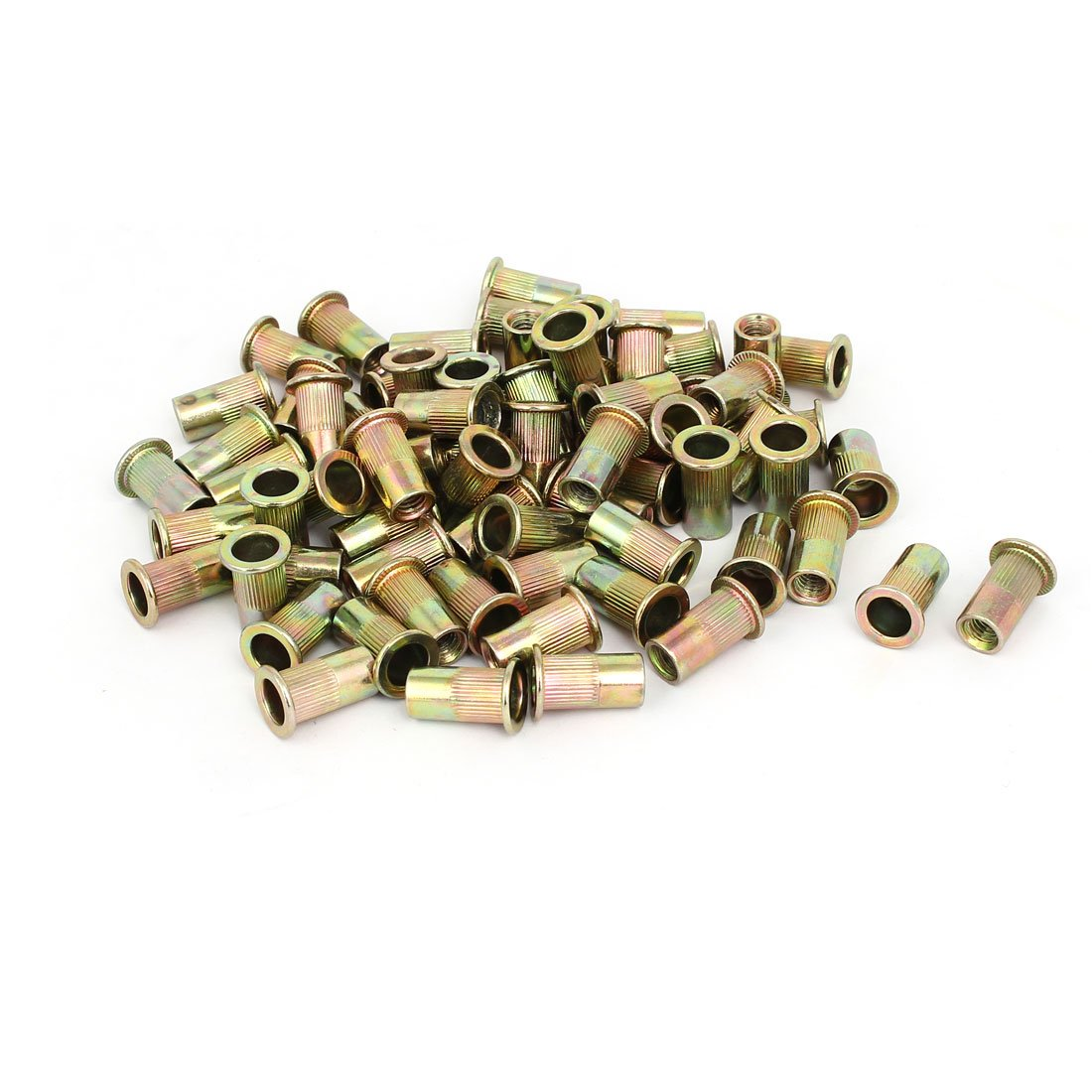 uxcell M6x18mm Metal Zinc Plated Straight Knurled Rivet Nut Insert Bronze Tone 70pcs