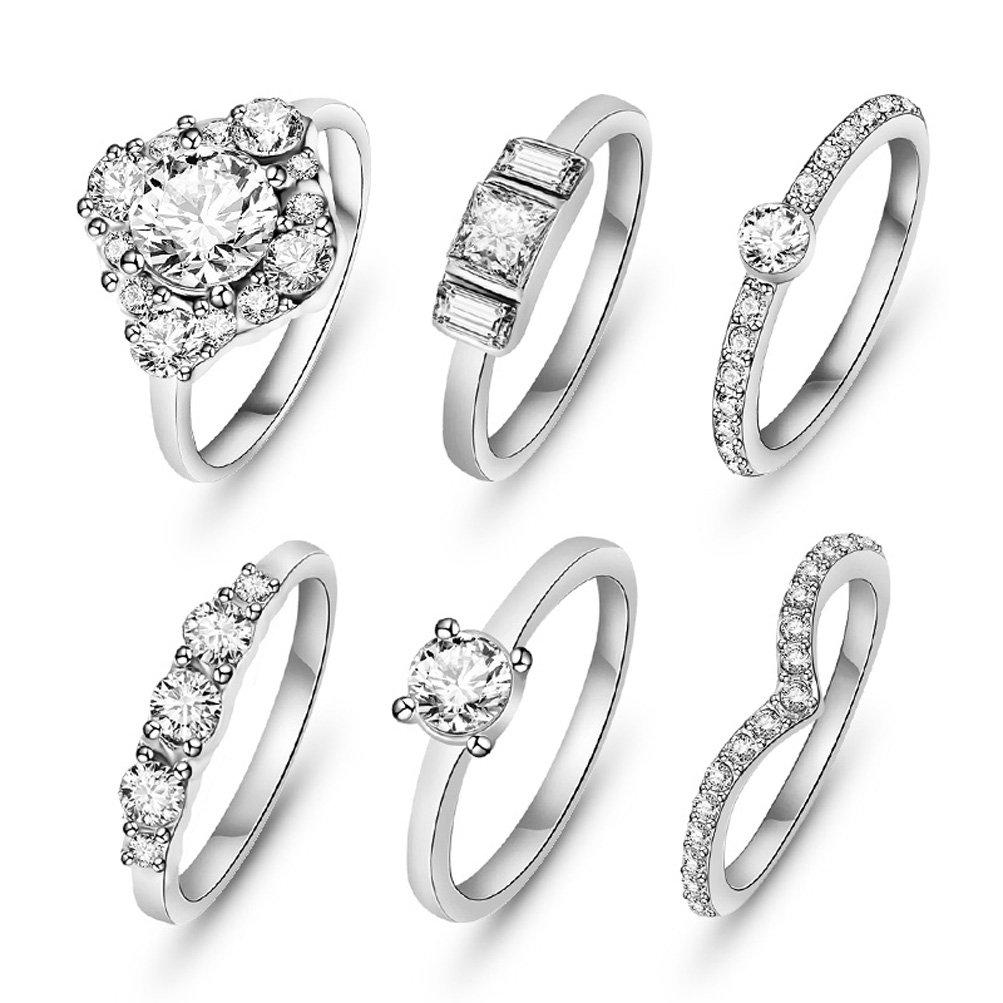 SunIfSnow Women One of Love Shape 6 piece/set Crystal Rings silver 7