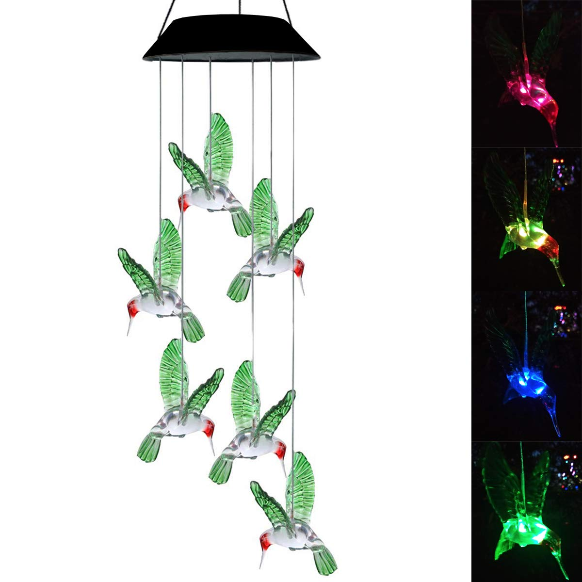 Topspeeder LED Solar Hummingbird Wind Chime, Changing Color Waterproof Six Hummingbird Wind Chimes For Home Party Night Garden Decoration (Hummingbird)