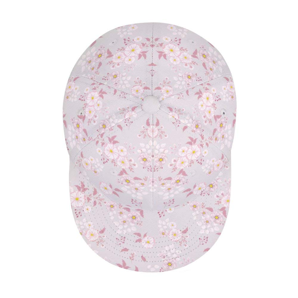 Liyingshun Pink Flowers Unisex Colorful Floral Print Baseball Cap Adjustable Dad Hats Hip Hop Hats