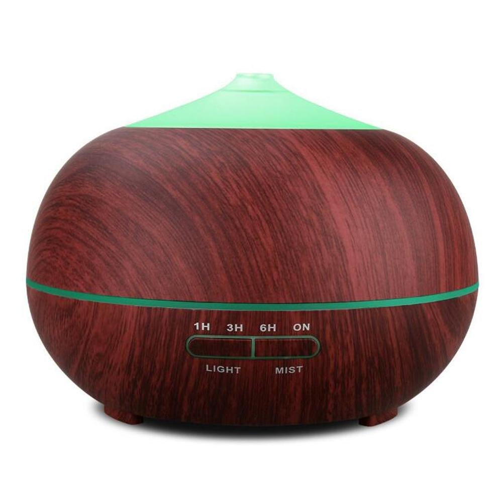 Essential Oil Diffuser BS-103 Ultrasonic Mute Humidifier Aromatherapy Indoor Air Purification LED Color Night Light No Water Automatic Shutdown Timer 400ml , Wood grain by BIGSELLER (Image #1)