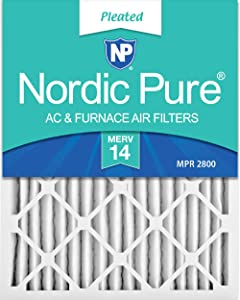 Nordic Pure 20x25x2 MERV 14 Pleated AC Furnace Air Filters, 3 PACK, 3 PACK