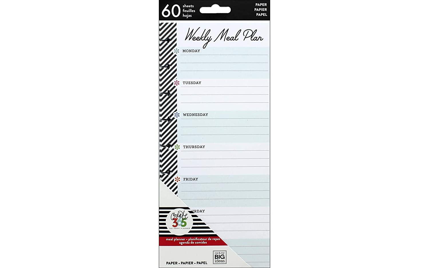 The Happy Planner Meal Plan Half Sheets - 60 Pre-Punched Double-Sided Weekly Meal Plan & Grocery Checklist Pages - Create Meals for the Week with This ...