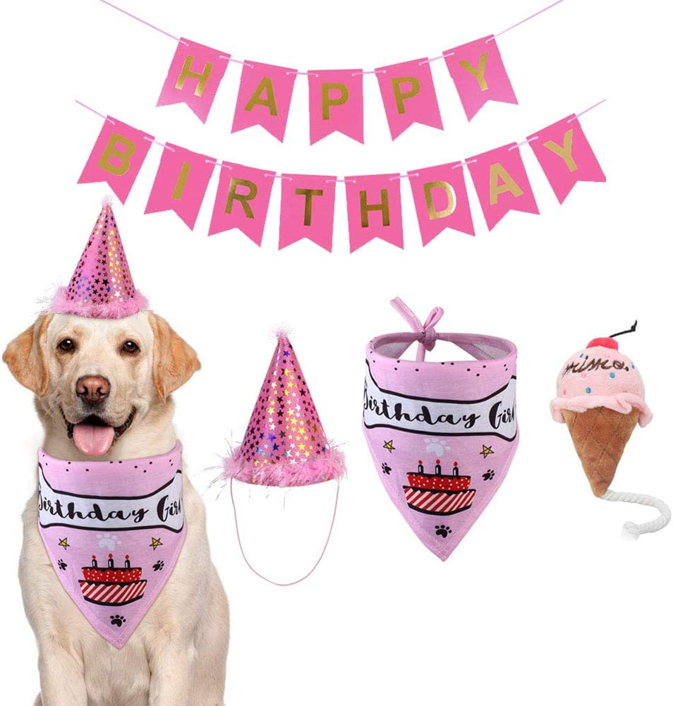 Amazon Com Tvmall Dog Birthday Bandana Hat Banner Set Birthday Party Supplies Squeaky Ice Cream Plush Toy Dog Boy Girl Triangle Scarfs With Crown Hat Cute Party Hat For Pets Pink