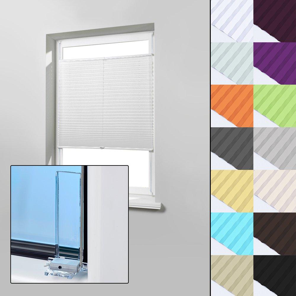 Home-Vision Plissee Faltrollo ohne Bohren zum Kleben Innenrahmen (Weiß, 145 x 150cm) Blickdicht Sonnenschutz Jalousie für Fenster & Tür
