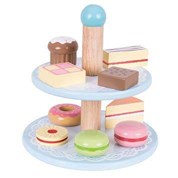 Bigjigs Toys Bj621 Wooden Cake Stand With 9 Cakes Pretend Play And Role For Children