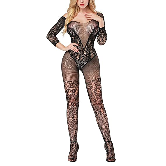 f99ee8a7a Women s Full Body Fishnet Bodystocking Transparent Lingerie Bodysuit  Stocking  Amazon.ca  Clothing   Accessories