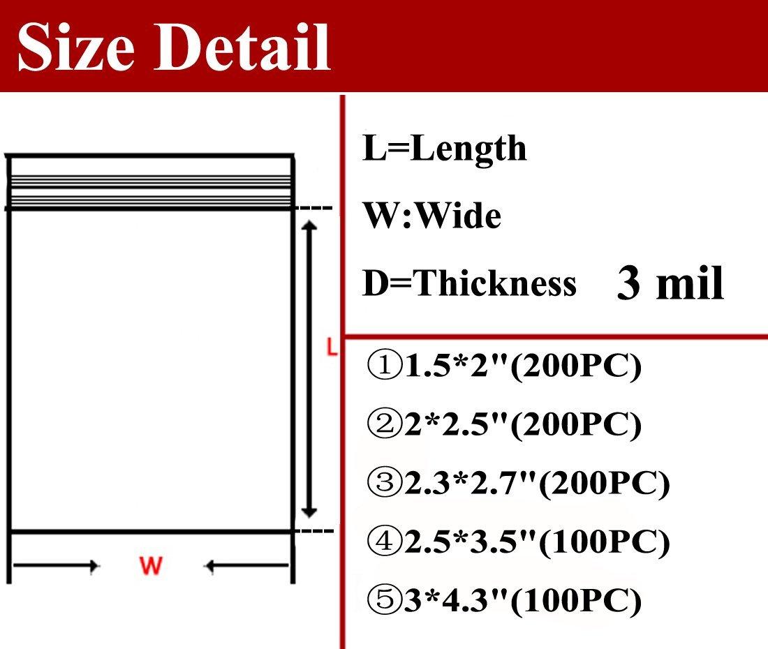 Mini Ziplock Bags 1.5X2 2X2.5 2.3X2.7 2.5X3.5 3X4.3 Inch Pack of 800 Netmetoo D1927NMTGW-F Thickness 0.08MM