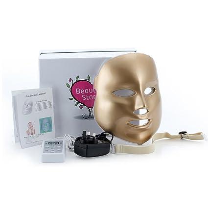 LED máscara facial, beauty Star LED de fotones terapia 3 colores tratamiento belleza cuidado de