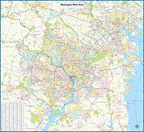Washington DC Metro Area Laminated Wall Map