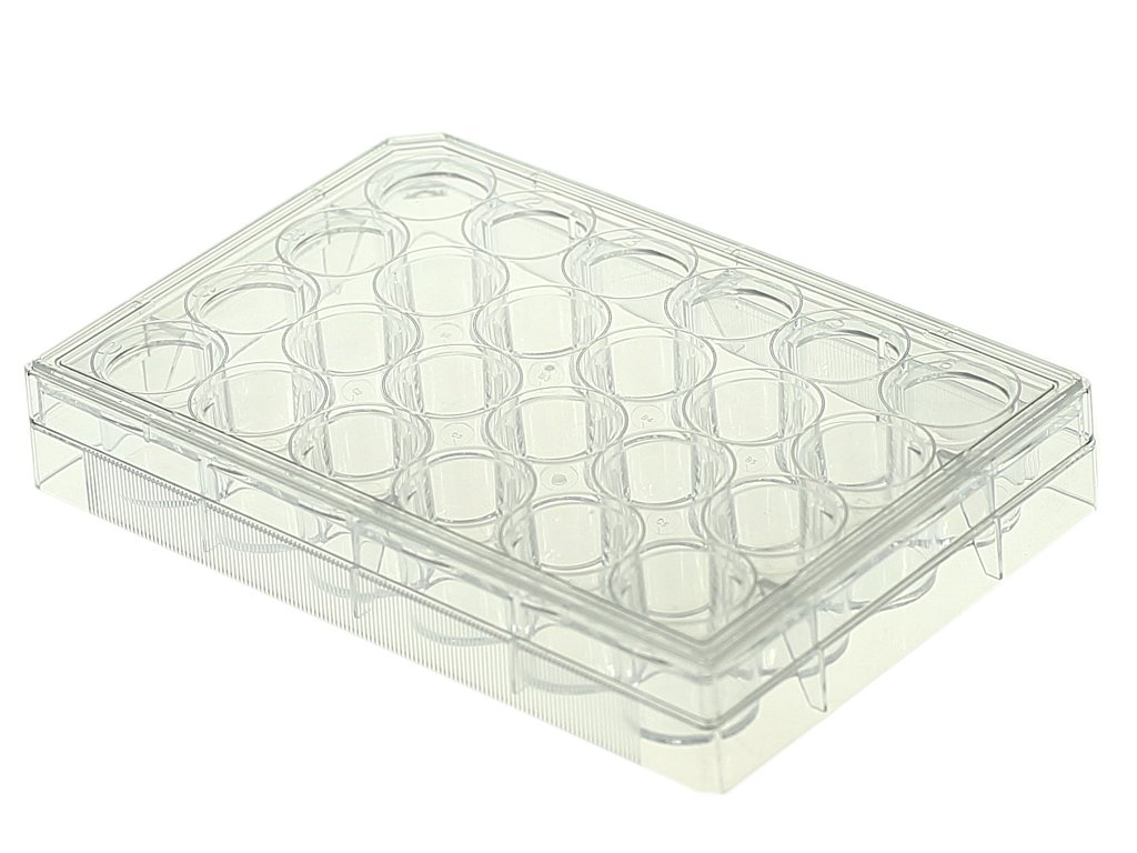 Nest Scientific 702001 Polystyrene 24 Well Cell Culture Plate, Flat Bottom, Tissue Culture Treated, Sterile, Clear, 1 per Pack, 50 per Case (Pack of 50)